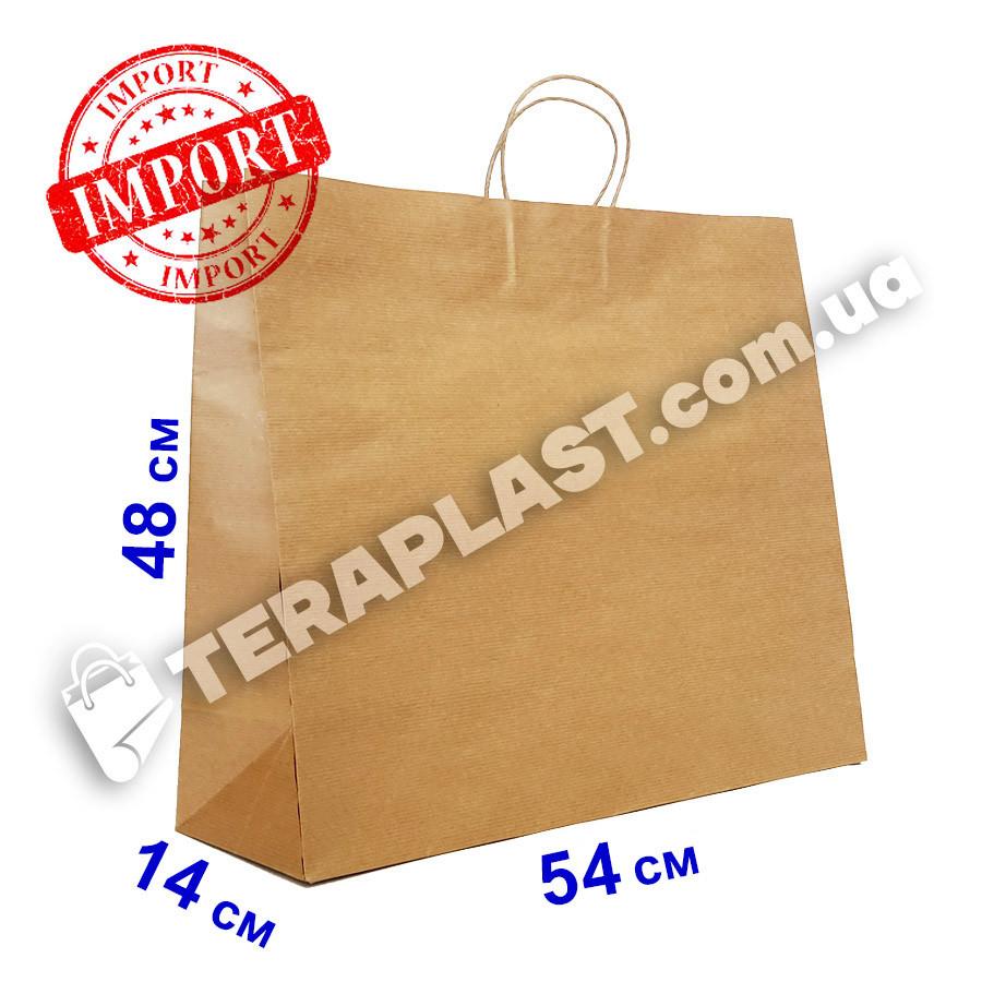 Бурый бумажный пакет с ручками 540х140х480 из импортной крафт бумаги, плотность 120г/м²