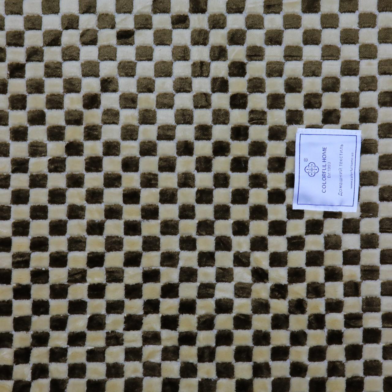 Покрывало в клетку коричневое тонкое 180x200см микрофибра, плед искусственный