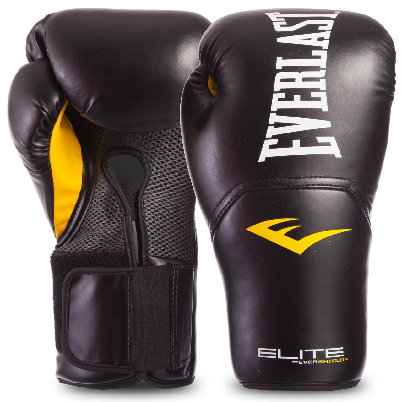 Перчатки боксерские PU на липучке EVERLAST P00001201 PRO STYLE ELITE (р-р 14oz, черный)