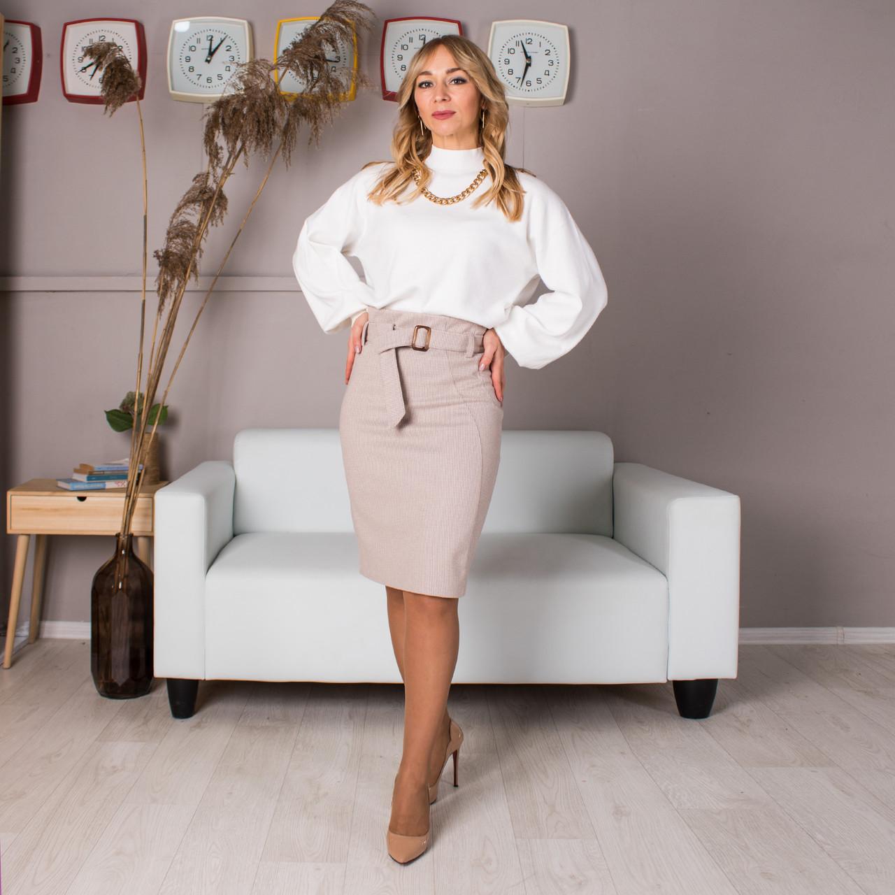 Женская теплая юбка Мишель цвет молочный, размер 44- 54
