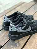 Мужские кроссовки Nike Air Force  черные мех (копия), фото 4