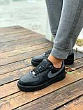 Мужские кроссовки Nike Air Force  черные мех (копия), фото 5