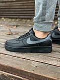 Мужские кроссовки Nike Air Force  черные мех (копия), фото 7