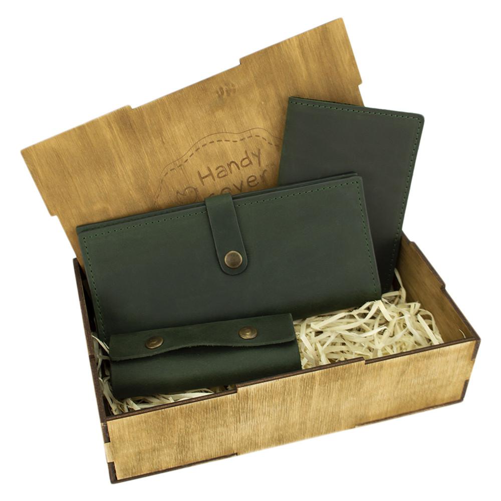 Подарочный набор женский Handycover №45 (зеленый) кошелек, обложка, ключница в коробке