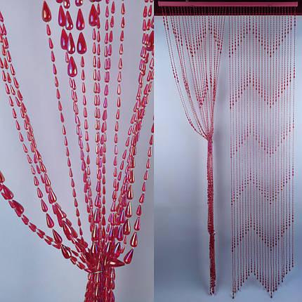 """Штора бусы пластиковая """"Капля"""" Д68 красный_ширина 0,90 метра высота 2 метра, фото 2"""