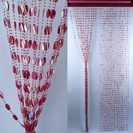 "Штора декоративная пластиковая ""Листик"" Д35 бордо_ширина 0,90 метра высота 2 метра, фото 2"