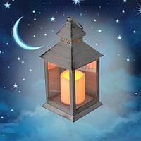 Декоративний ліхтар 32см зі свічкою з LED підсвічуванням теплий білий світ на батарейках Сірий