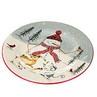 """Тарелка """"Снеговик с животными"""" (003NR), фото 1"""