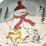 """Тарелка """"Снеговик с животными"""" (003NR), фото 2"""
