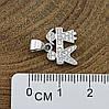 Серебряный кулон размер 11х10 мм вставка белые фианиты вес 1.3 г, фото 3