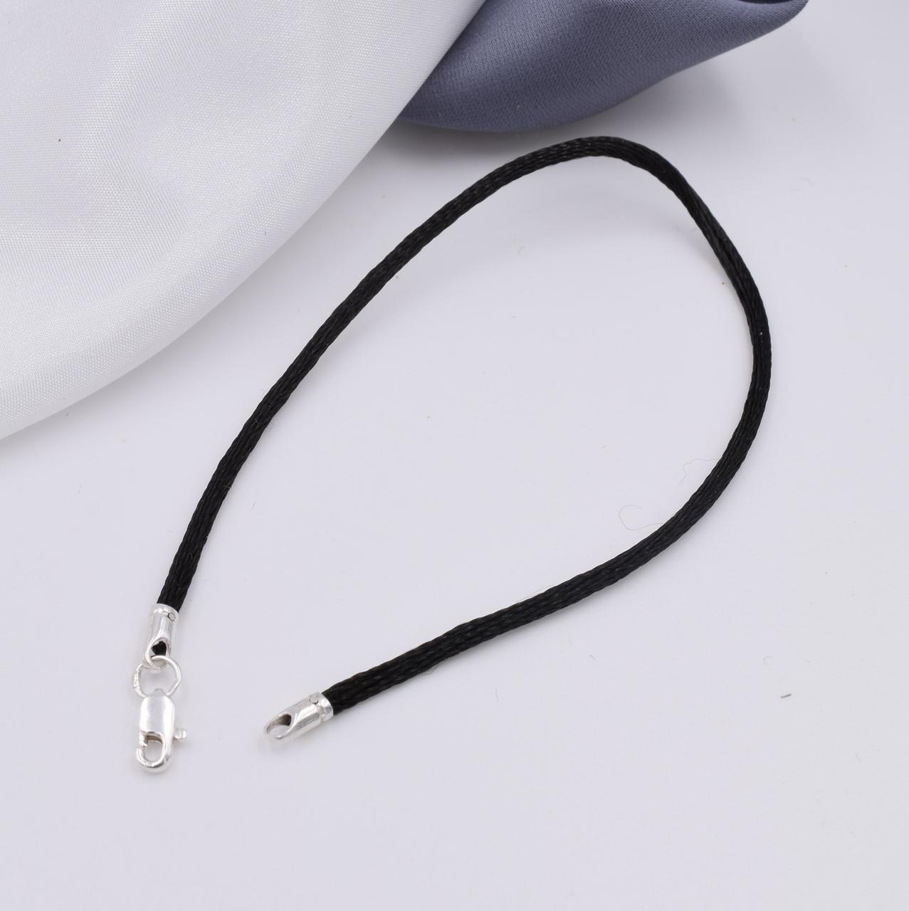 Серебряный оберег Черная нить длина 17 см ширина 2 мм вес 0.7 г