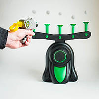 Воздушный тир, детская игра пистолет с дротиками и летающими мишенями , дартс с бластером, попади по мишени, фото 1
