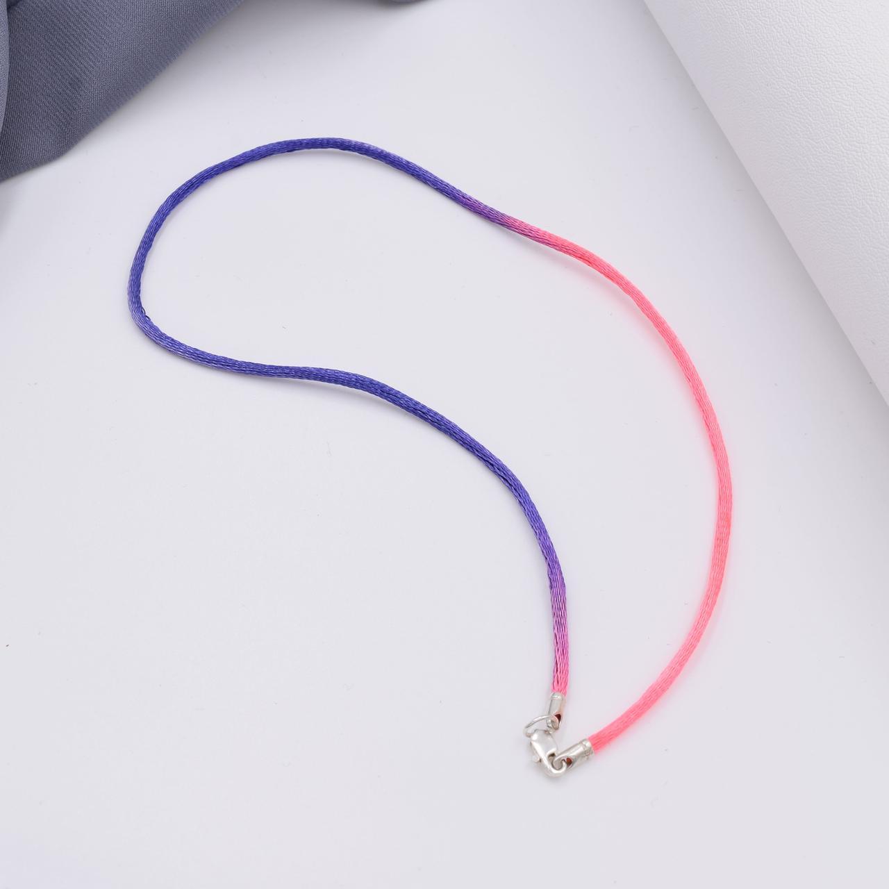 Шнурок шелковый цвет розово-фиолетовый длина 40 см ширина 2 мм вес серебра 0.7 г