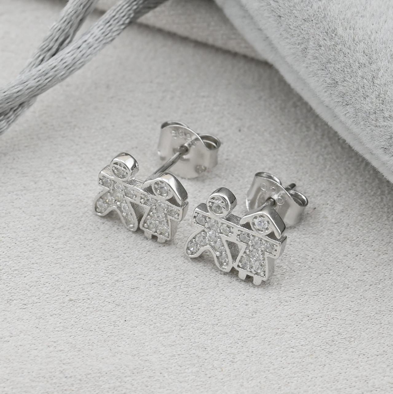 Серебряные серьги гвоздики размер 8х10 мм вставка белые фианиты вес 1.8 г