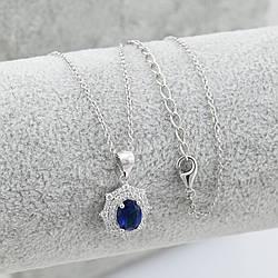 Серебряный набор цепочка 40+5 см + кулон 13х14 мм вставка синие фианиты вес 3.5 г