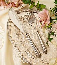 Антикварний набір столових приладів, ніж для м'яса і вилка, сріблення по латуні, сталеве лезо, Англія