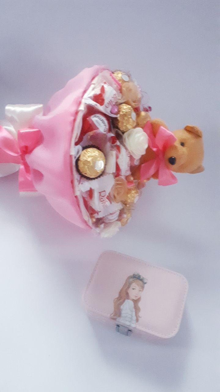 Подарочные набор для девочки Букет из конфет с мишкой и детская шкатулка БК Ш 0212