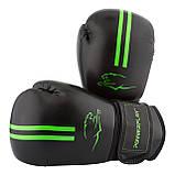 Боксерські рукавиці PowerPlay 3016 Чорно-Зелені 12 унцій, фото 3