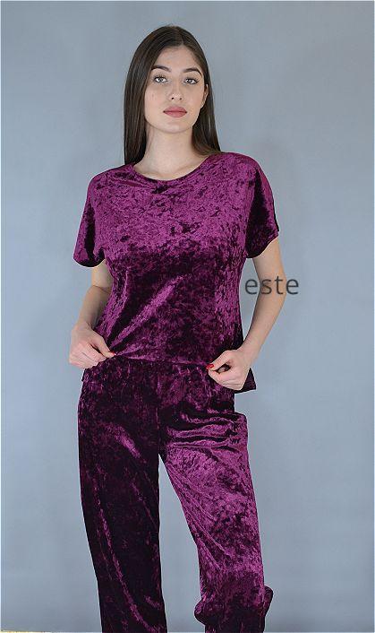Пижама женская футболка и штаны Este велюровая марсала.