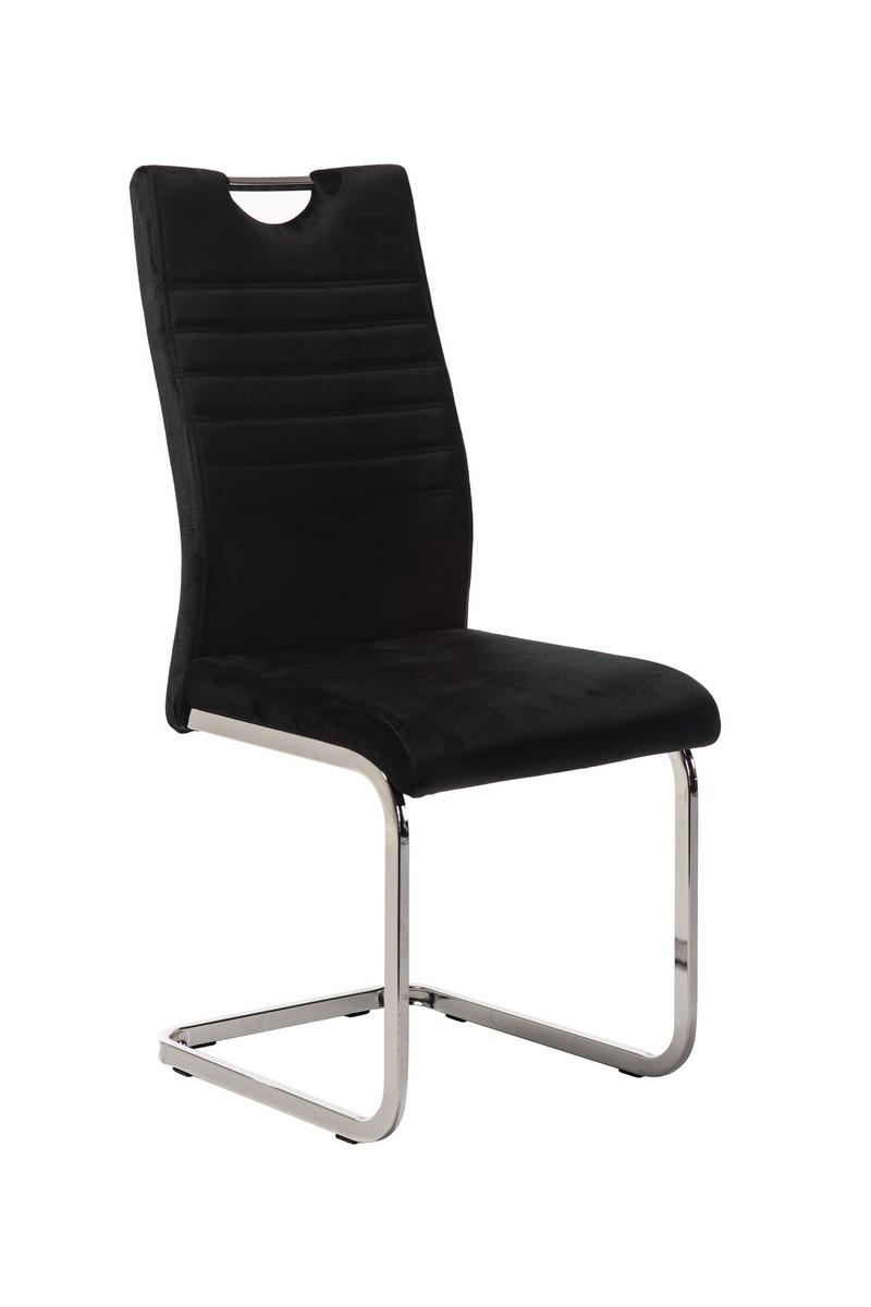 Вельветовый стул S-120 черный от Vetro Mebel с ручкой