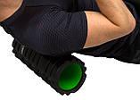 Масажний ролик PowerPlay 4025 Чорно-Зелений., фото 2