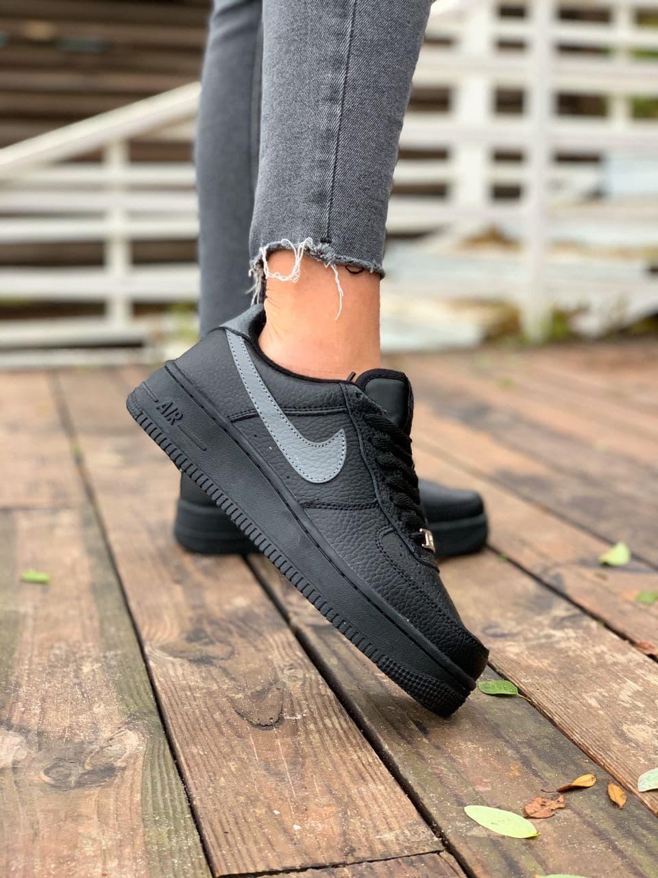 """Зимние кроссовки на меху Nike Air Force 1 """"Черные"""""""