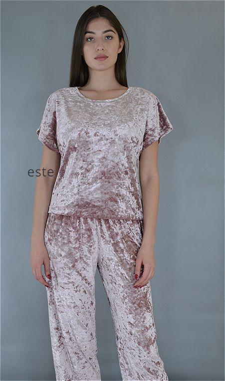 Велюровый костюм пижама футболка и штаны Este пудровый.