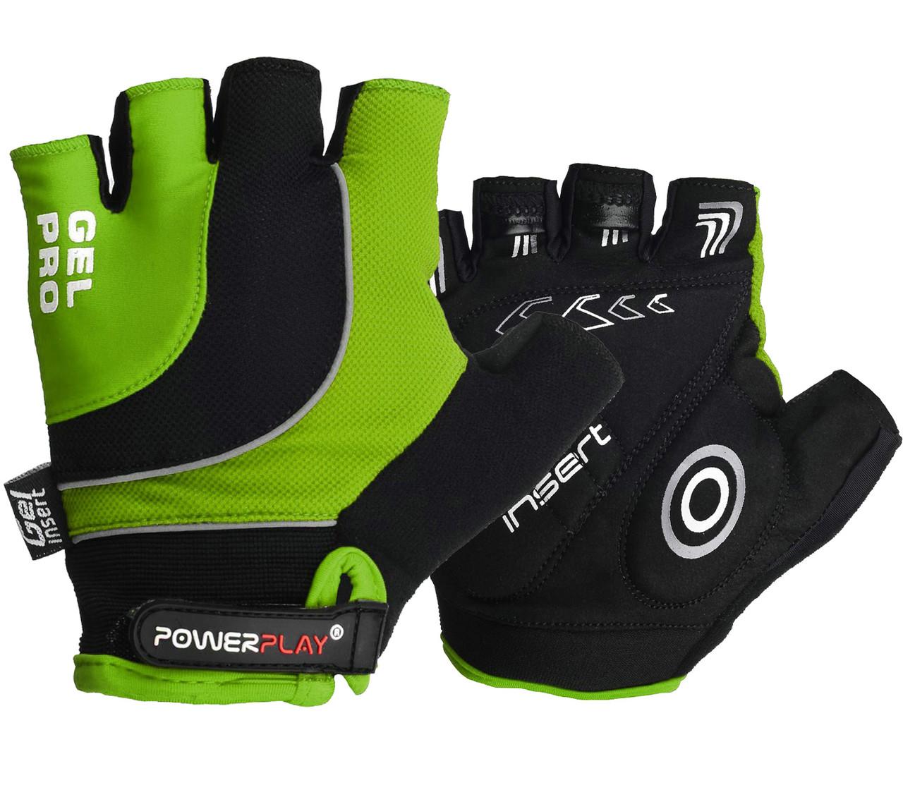 Велорукавички PowerPlay 5015 B Зелені L