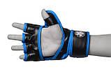 Рукавички для MMA PowerPlay 3058 Чорно-Сині XL, фото 4