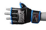 Рукавички для MMA PowerPlay 3058 Чорно-Сині XL, фото 5
