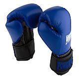 Боксерські рукавиці PowerPlay 3015 Сині [натуральна шкіра] 12 унцій, фото 2