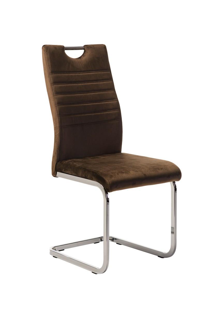 Вельветовий стілець S-120 коричневий від Vetro Mebel з ручкою