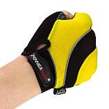 Велорукавички PowerPlay 5037 C Чорно-жовті L, фото 4