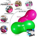 М'яч-горіх для фітнесу PowerPlay 4004 (90*45см) Розовий + насос, фото 9