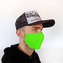 Маска защитная на лицо многоразовая 2х слойная салатовая (М2001)