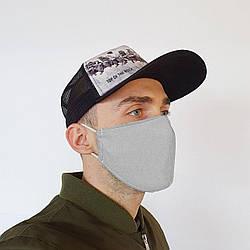 Маска защитная на лицо многоразовая 2х слойная серая (М2004)
