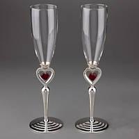 """Свадебные бокалы """"Пылающие сердца"""" 2 вида (красное и серебристое сердечко)"""