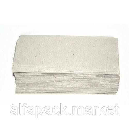 Полотенце бумажное V складка, макулатурное серое