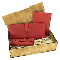 Женский подарочный набор Handycover №45 красный (кошелек, обложка, ключница) в коробке, фото 1