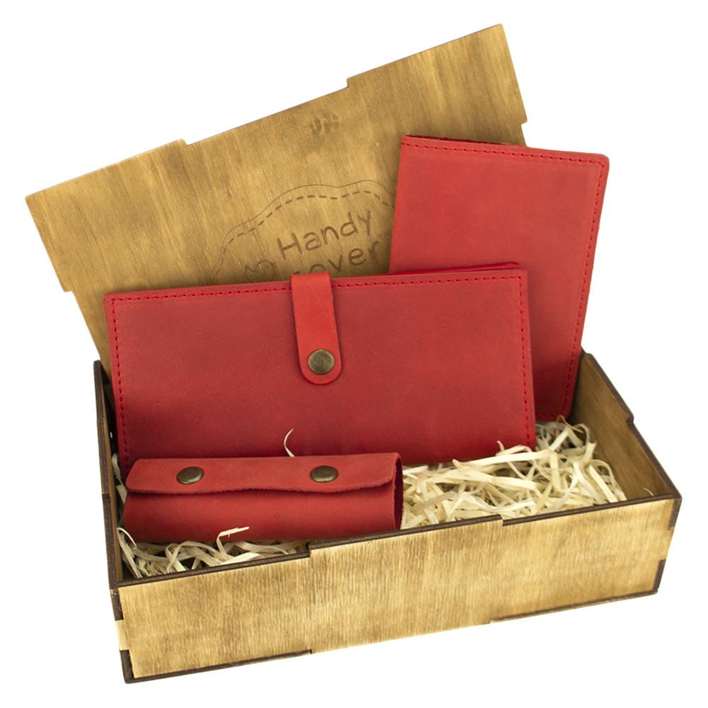 Женский подарочный набор Handycover №45 красный (кошелек, обложка, ключница) в коробке