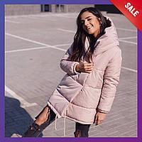 Женская зимняя удлиненная куртка зефирка плащевка на силиконе марсала черный хаки серый бежевый 42 44 46