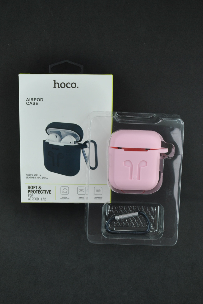 Чехол для наушников AirPods HOCO 2in1 (+карабин) Pink