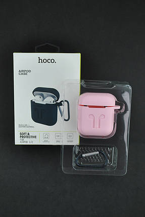 Чехол для наушников AirPods HOCO 2in1 (+карабин) Pink, фото 2