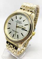 Мужские наручные часы Rolex (Ролекс), золото с белым циферблатом ( код: IBW549YO )