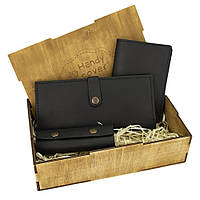 Женский подарочный набор Handycover №45 черный (кошелек, обложка, ключница) в коробке, фото 1