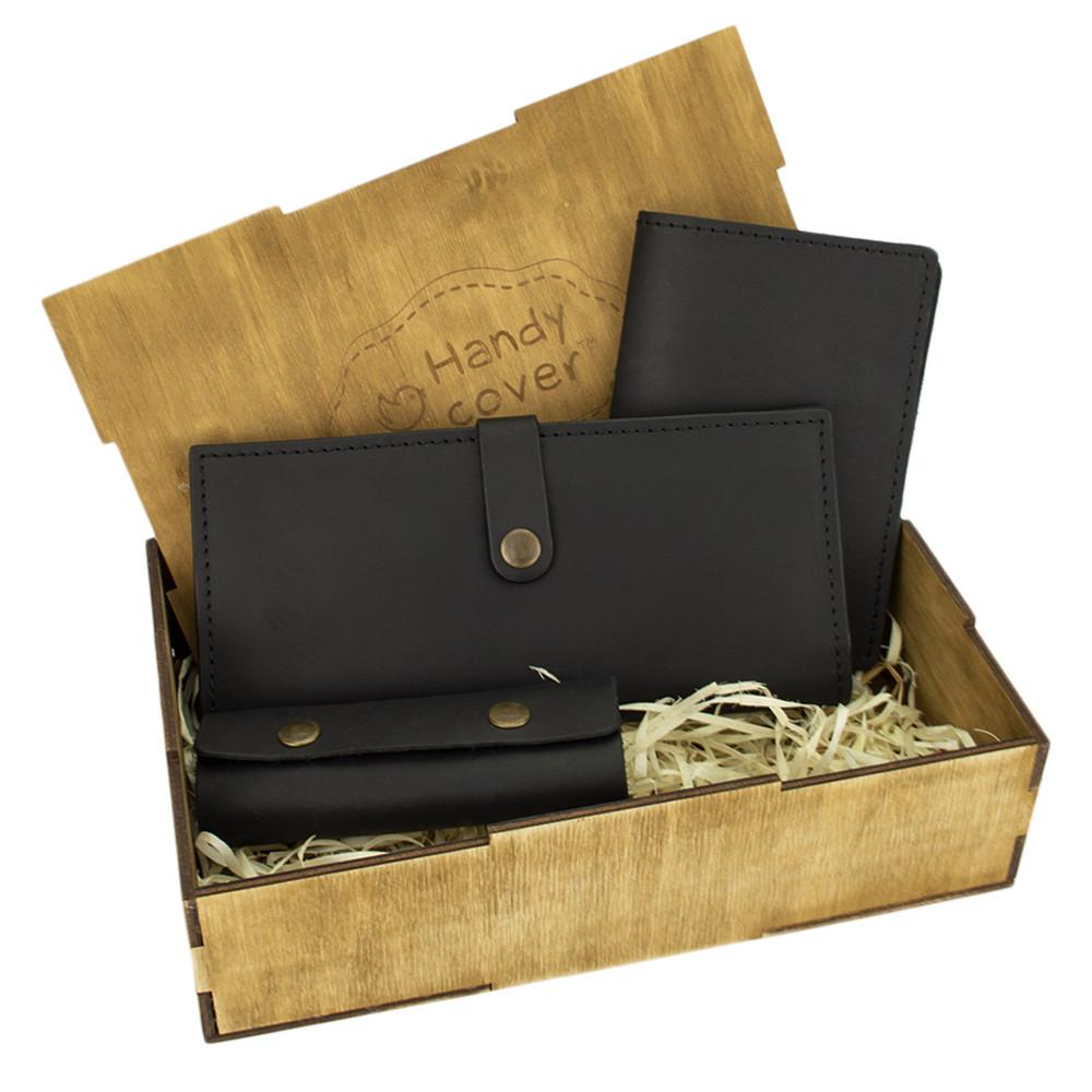 Женский подарочный набор Handycover №45 черный (кошелек, обложка, ключница) в коробке