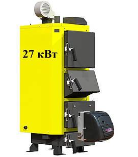 Твердотопливный котел на отработке Kronas UNIC-P 27 кВт + Горелка MTM CTB-65