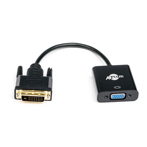 Конвертер DVI-D 24+1 (папа) на VGA (мама) 10cm, ATCOM, 4K/2K