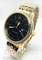 Жіночі наручні годинники Rolex (Ролекс), срібло з чорним циферблатом ( код: IBW264SB )