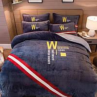 Комплект постельного белья Велюровый Темно - серый евро размер